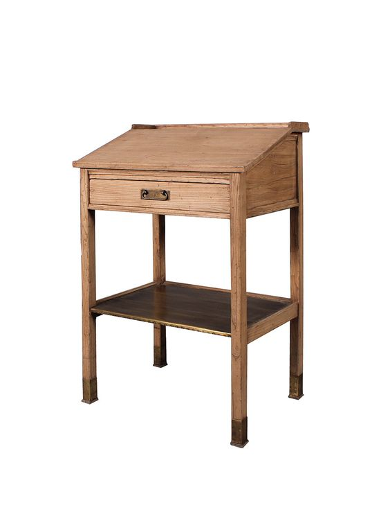 Reservations desk - Made from elm wood, features slanted writing surface with drawer.