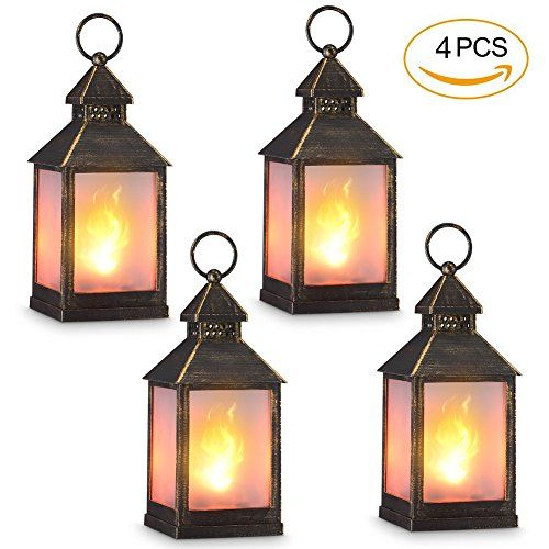 BATTERY POWERED FLICKERING FLAME EFFECT LED CANDLE HANGING LANTERN BLACK//SILVER