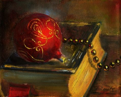 Christmas Ornament with Gold Garland 8x10 in, painting by artist Hall Groat II