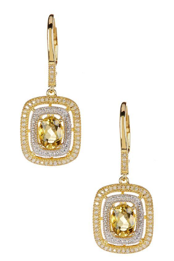 Two-Tone Yellow Beryl & White Diamond Dangle Earrings by Savvy Cie on @HauteLook
