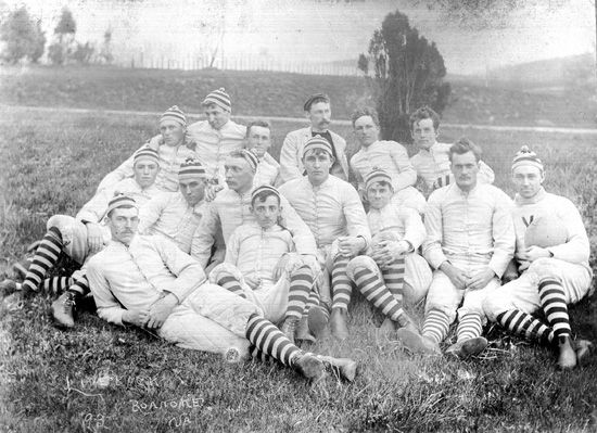 The first football team at Virginia Agricultural and Mechanical College (now Virginia Tech) was formed in 1892.