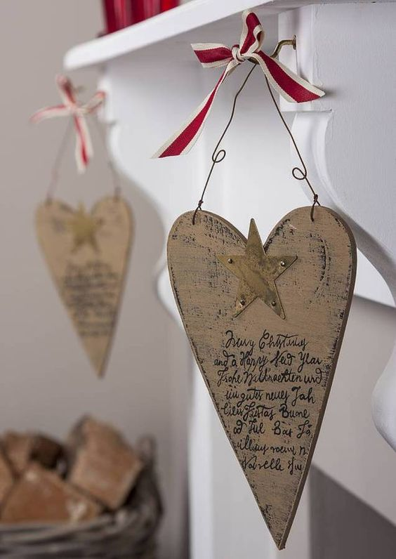 Vintage Style Wooden Heart Decoration
