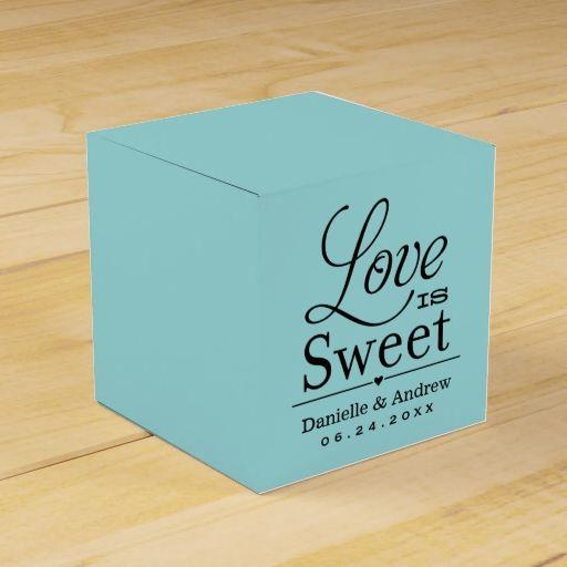 Love is Sweet Design | Aqua Blue Party Favor Box
