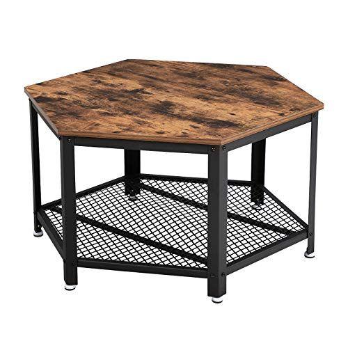 Vasagle Table Basse Vintage Table Dappoint Table De Salon Armature Metallique Stable Etagere De Rangement En Tre En 2020 Table De Salon Table Basse Vintage Table Basse