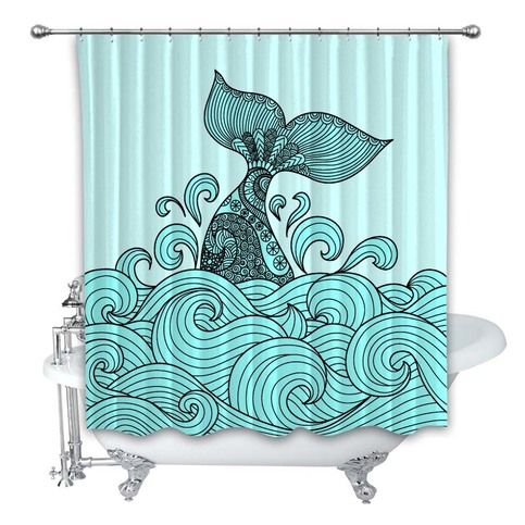 Blue Wale On Wave Art Custom Shower Curtain 100 Polyester In 2020