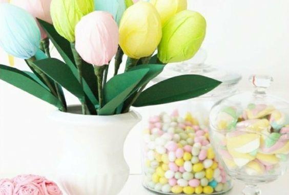 Ideenreiche Osterdekoration mit Bobnons und Tulpen