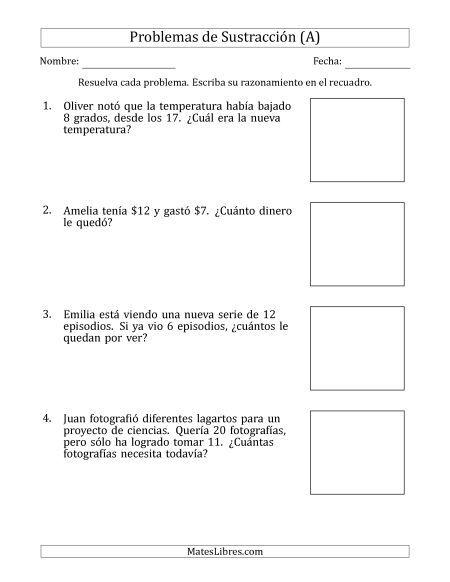 Problemas De Resta Con Diferencias De 5 A 12 Problemas De Division Problemas De Multiplicaciones Problemas Matematicos De Multiplicacion