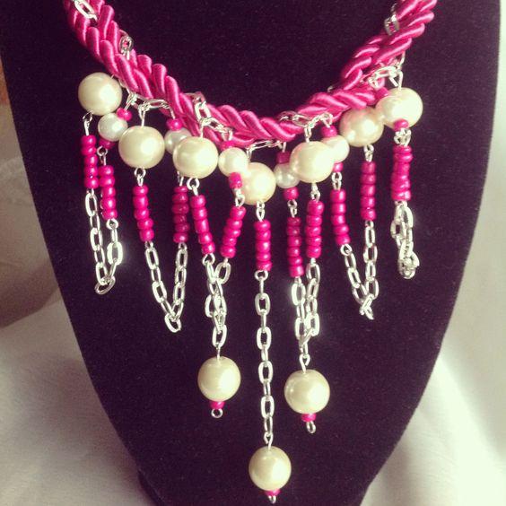 Handmade statement necklace ~ Fuchsia swirl ~