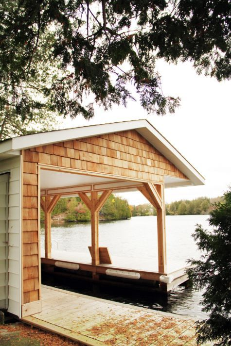 This is an open concept boat port with plenty of storage for Boat garage on water