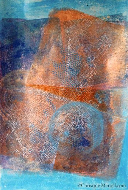 Acrylic Gelli Print, 12″ x 18″ by Christine Martell Art
