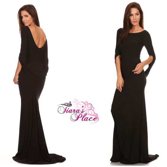 Black+mermaid+style+fitted+maxi+dress+with+low+back+and+connected+sleeves.+ Plus+sizes:++1X,+2X,+3X