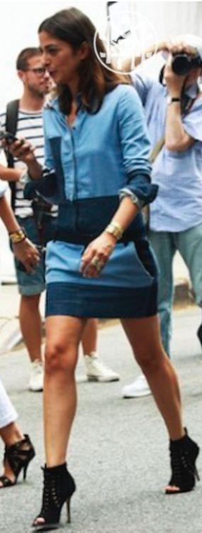 cool denim dress. vogue paris style.