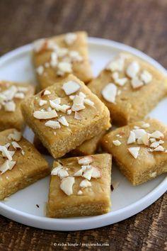 Besan Burfi With Condensed Milk - Chickpea Flour Fudge