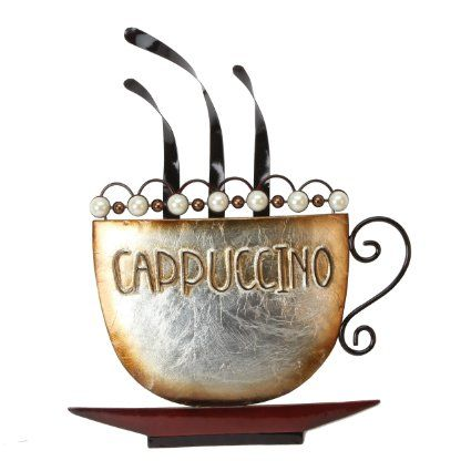 Cappuccino - Metal Wall Art, from Juliana Home Living. A decorative, modern, metal wall plate, ideal gift for the home, cafe, or restaurant (MWA807).