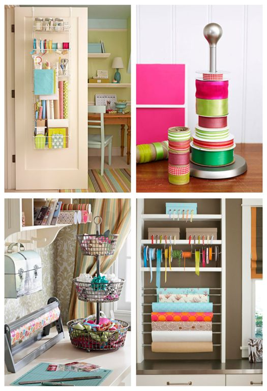 Cute over the door wrapping station!: Wrapping Paper, Ribbon Holder, Wrapping Station, Organizing Crafts, Storage Ideas, Craft Rooms, Paper Towels