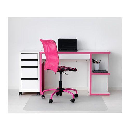 Micke desk with integrated storage white pink ikea - Bureau micke ikea ...