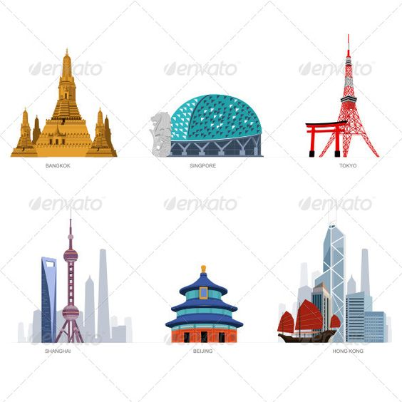 Beijing singapore and cartoon on pinterest for Asia famous buildings