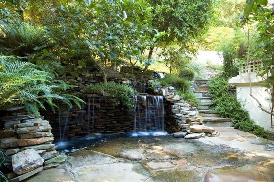 Exterior. Attractive Stone Wall Design For Interior Or Exterior Home Decoration. Picturesque Outdoor Backyard Landscaping Ideas With Waterfalls As Well As Stone Stacked Retaining Walls As Well As Retaining Wall Design Plus Retaining Wall