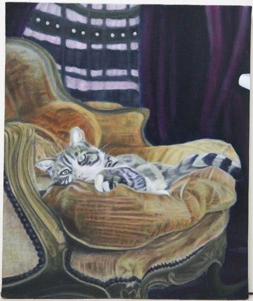 室内風景画「妻を待つ猫」[星野 寛明] | ART-Meter