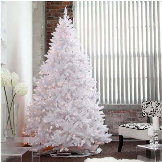 Details about New Winter Park White Christmas Tree With Lights Slim