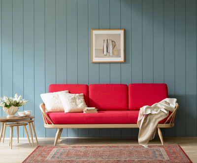 Canapé droit Studio Couch / 3 places - L 206 cm - Rééditon 1950' Rouge / Structure bois clair - Ercol