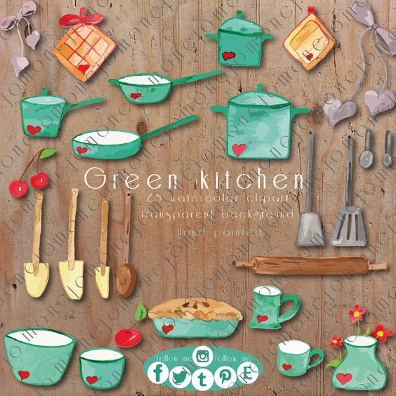Green Kitchen watercolor cliparts. Kitchen. Green. Cherries. Decoupage. Erector. Scrapbooking.