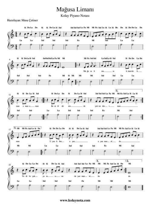 Magusa Limani Kolay Piyano Notasi Piyano Notalara Dokulmus Muzik Ucretsiz Notalar