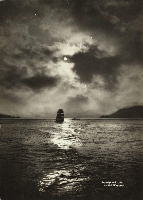 Golden Gate at night (pre-bridge). Willard E. Worden, 1908.