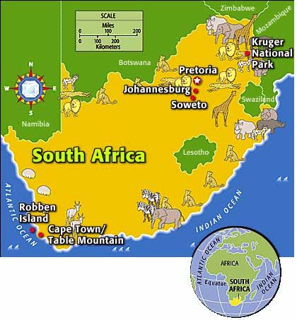 South Africa  flag and map outline  Go be a tourist in SA