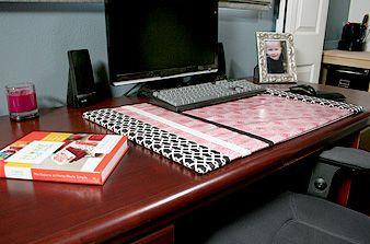 diy desk blotter oilcloth writing desk accessories. Black Bedroom Furniture Sets. Home Design Ideas