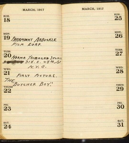 Buster's datebook - his first work in pictures - April 1917 - his final break from Vaudeville and The Three Keatons, although he would financially support his parents and siblings for all their lives: