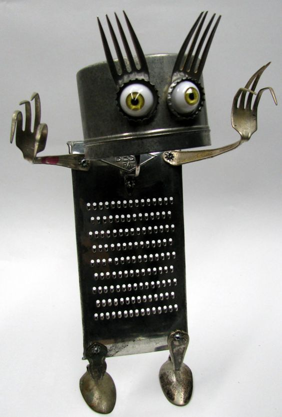 """RECYCLED Reused Upcycled  ROBOT  Sculpture - """"Look into my Eyes""""   -  fond objects art"""