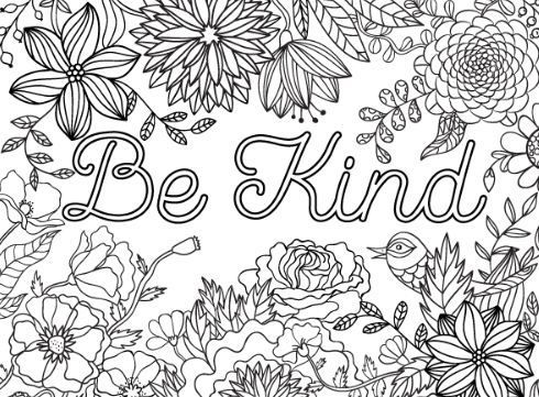 Be Kind Coloring Page Free Free Adult Coloring Pages Quote