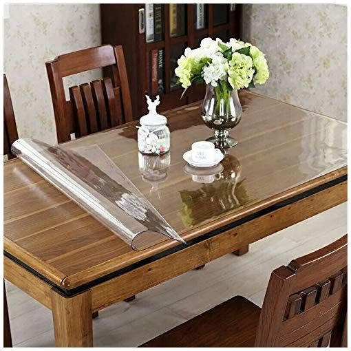 Ostepdecor Custom 72 X 27 6 Inch Clear Table Cover Protector 1 5mm Thick Desk Cover Plastic Table Protector Clear Table Pad Tablecloth Protector Clear Desk Pa In 2020 Dining Table Table Pads