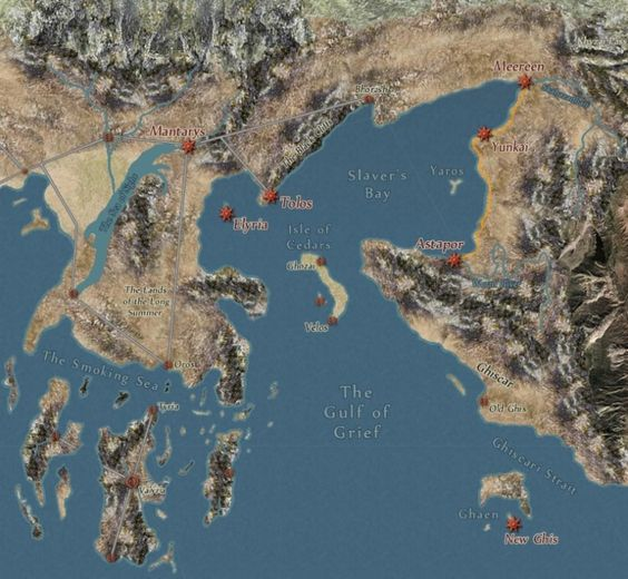 Map of Essos and Valyria & Asshai