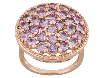 Stratify(Tm) Brazilian Amethyst 3.30ctw Round 18k Rose Gold Over Sterling Silver Ring