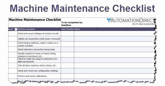 Equipment Maintenance Schedule Template Excel Beautiful Machine Maintenance Schedule Template Plan Maintenance Checklist Checklist Template Schedule Template