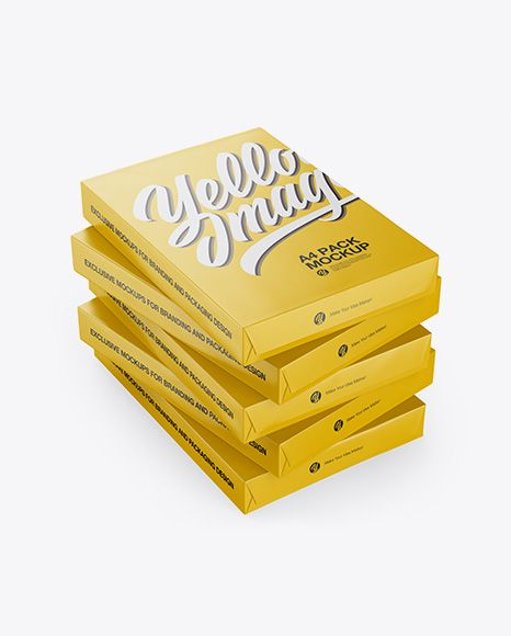 Download 5 Glossy A4 Size Paper Sheet Packs Mockup Half Side View In Packaging Mockups On Yellow Images Object Mockups Mockup Free Psd Mockup Psd Mockup Free Download PSD Mockup Templates