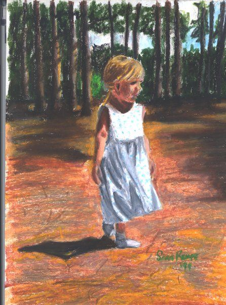 Pastel of Emily when she was 4