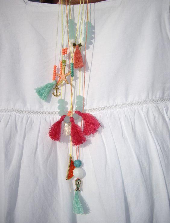 Κρεμαστά με χάντρες και διακοσμητικά. Κωδικός: 12086/1                 #jewelleryfromourheart #jewellery #thessaloniki #accessories #pendant #colours #charm #starfish #tassel #beads #fish #watermelon #summer #ss2016 #summer2016