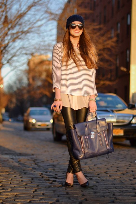beanie, striped top, sheer blouse, 3.1 phillip lim satchel, ysl arty ring, faux leather pants, lucite pumps - san francisco to new york fashion and street style blogger