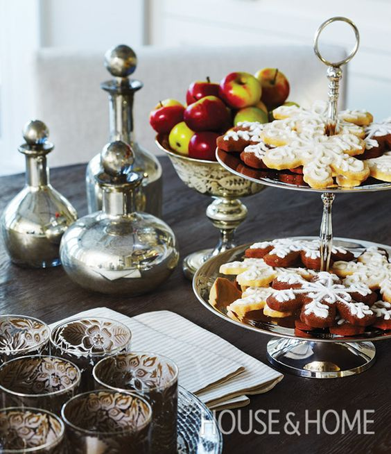 Don't forget dessert! Vintage silver accents add sparkle to a buffet ...