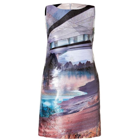 Mary Katrantzou Printed Mini Dress (3 525 SEK) ❤ liked on Polyvore featuring dresses, mary katrantzou, платья, multicolor, mini dress, loose mini dress, lilac dress, print dress and short dresses