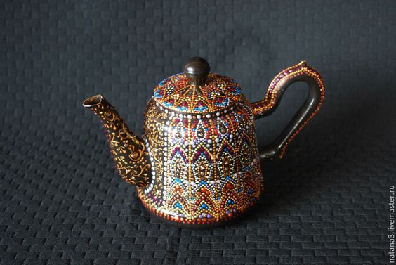 Купить Маленький заварочный чайник. Точечная роспись. - разноцветный, чайник, заварочный чайник, роспись чайника