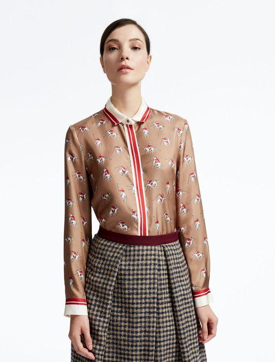Weekend Max Mara MUSCARI bordeaux: Printed pure silk shirt Product page