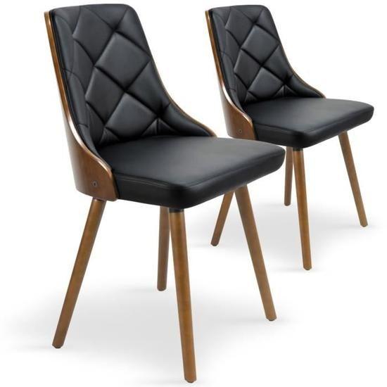Lot de 2 chaises scandinaves Lalix Bois Noisette et Noir