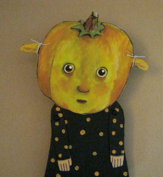 articulated paper doll- for Halloween- little Miss Autumn Day-