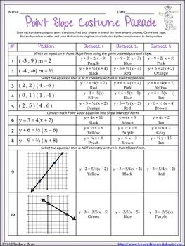 Printables Equations Of Lines Worksheet writing equations in point slope form coloring worksheet worksheet