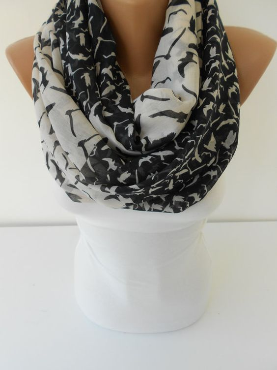 SOFT Cotton Scarf Bird Print Scarf Black White Scarf by ScarfClub