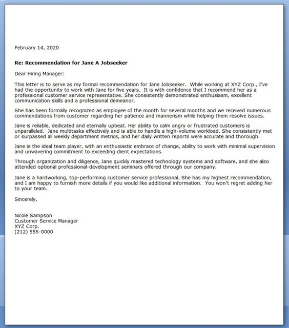 Letter of Recommendation for Customer Service job stuff - customer reference letter
